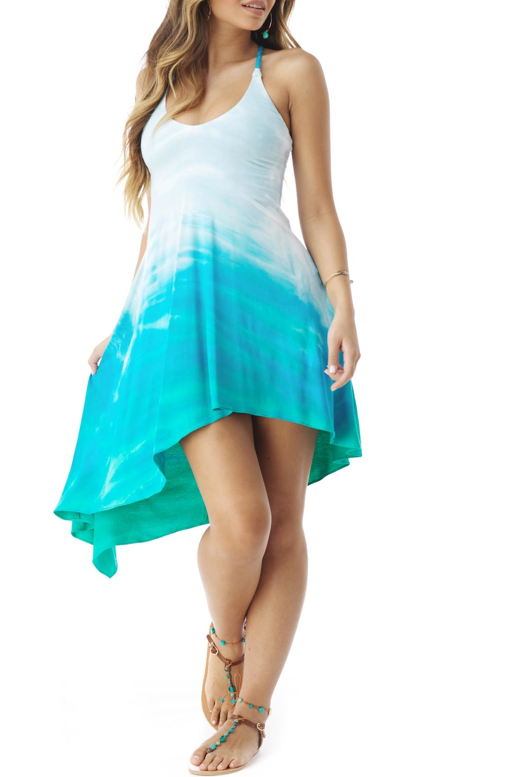Sky Tie Dye Dress - Front Cropped Image