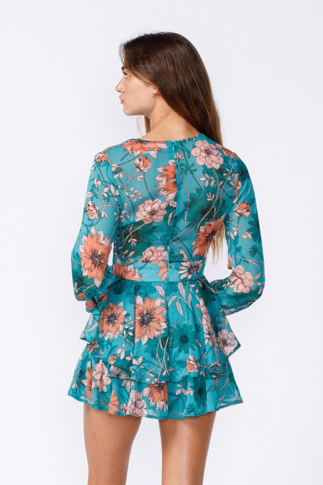sky to moon Floral Romper - Back Cropped Image