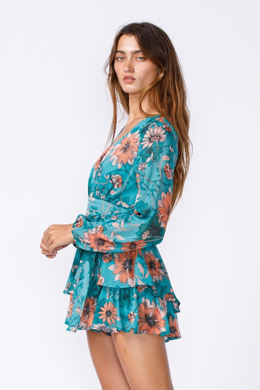 sky to moon Floral Romper - Side Cropped Image