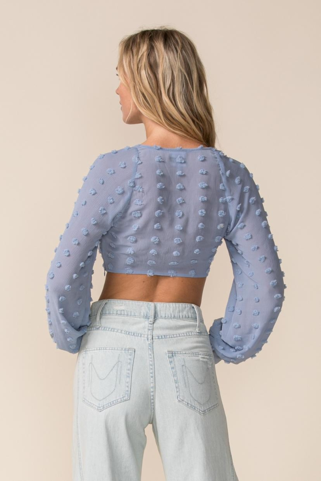 sky to moon Long Sleeve Crop-Top - Back Cropped Image
