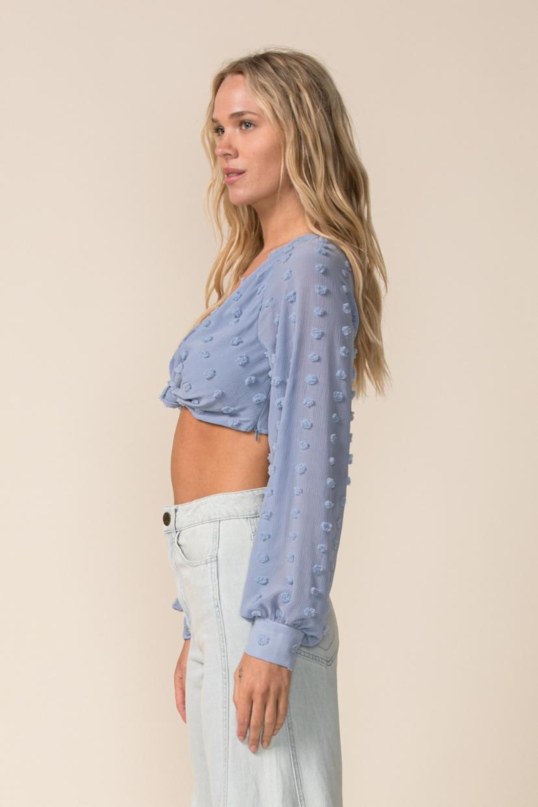 sky to moon Long Sleeve Crop-Top - Side Cropped Image