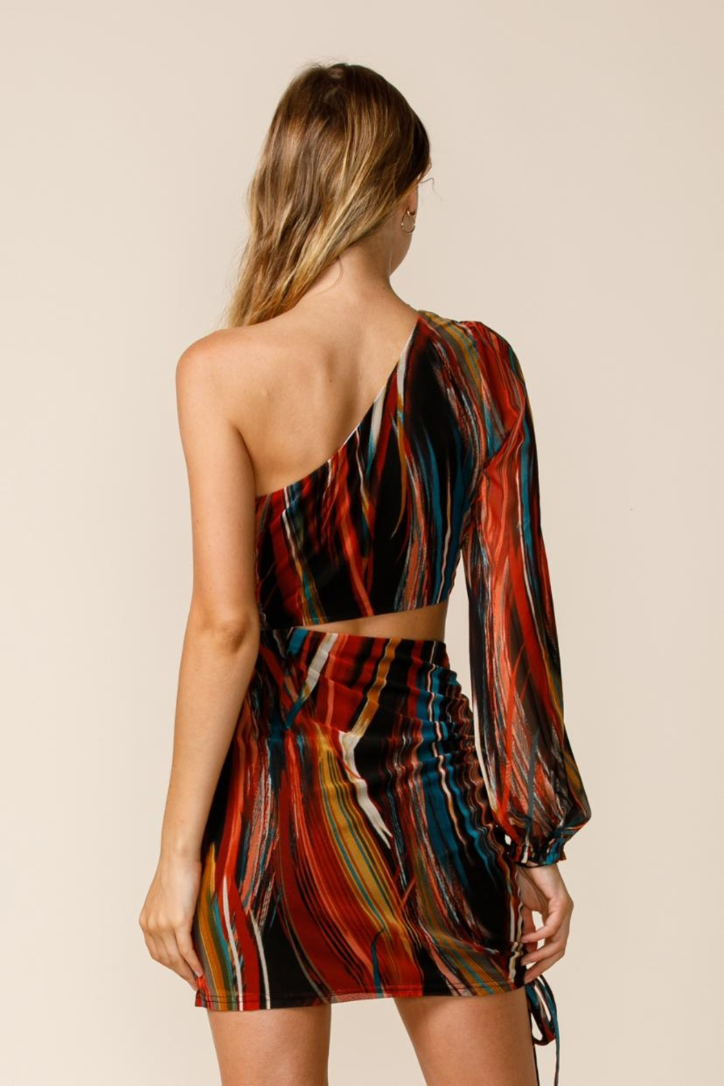 sky to moon One-Shoulder Cut-Out Dress - Back Cropped Image
