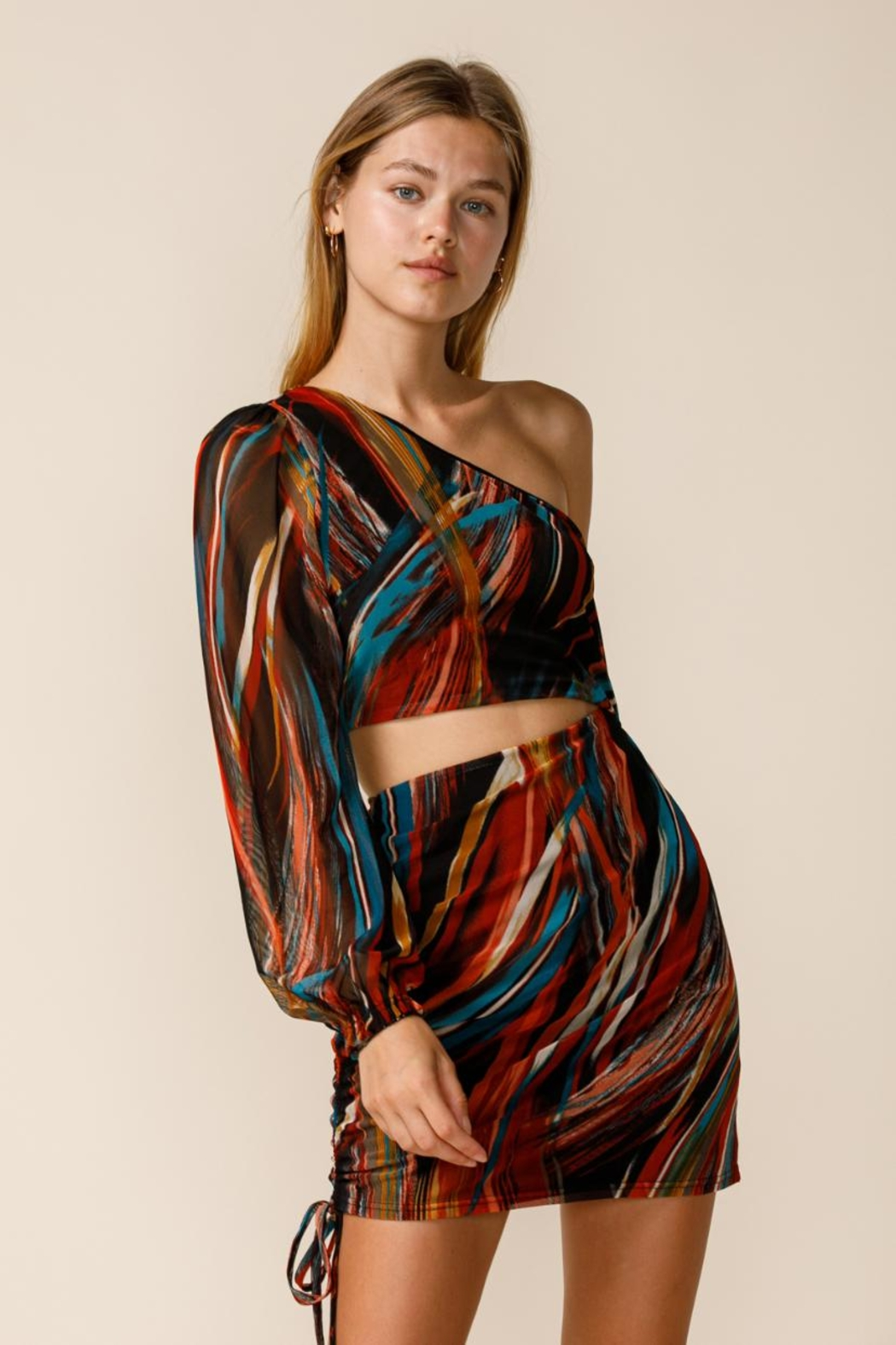 sky to moon One-Shoulder Cut-Out Dress - Front Full Image