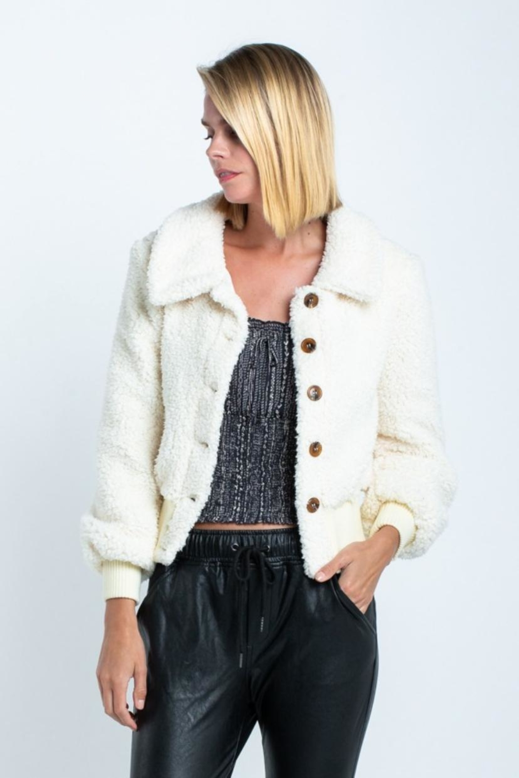 skylar madison Button-Down Crop Jacket - Front Full Image