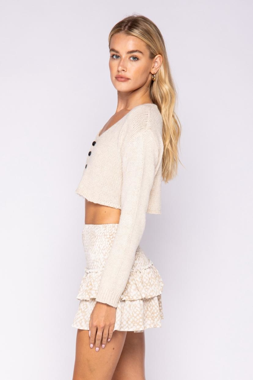 skylar madison Crop Sweater Top - Side Cropped Image