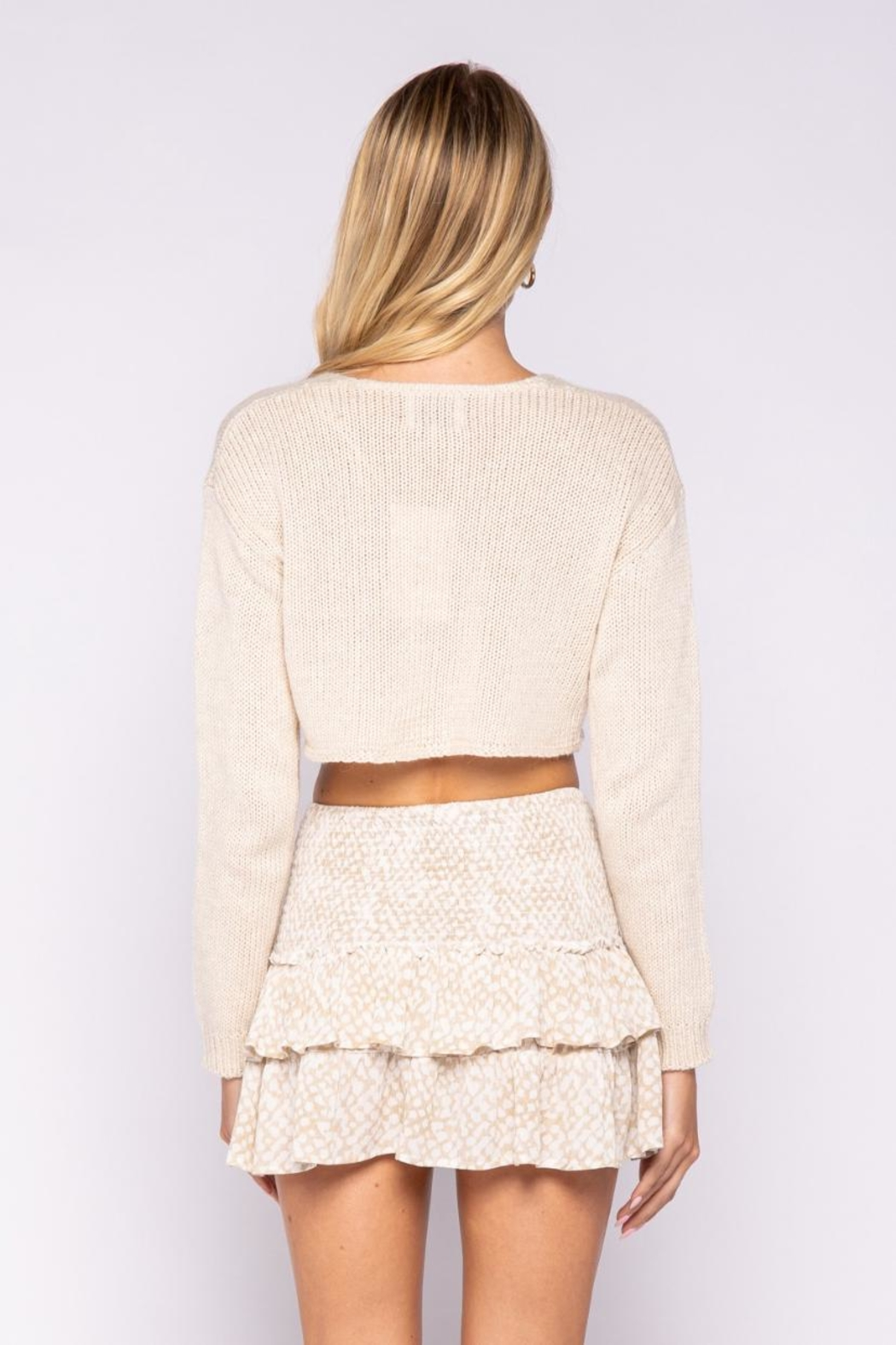 skylar madison Crop Sweater Top - Back Cropped Image
