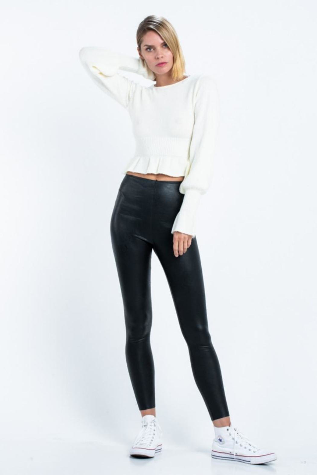 skylar madison Cropped Sweater Top - Front Full Image