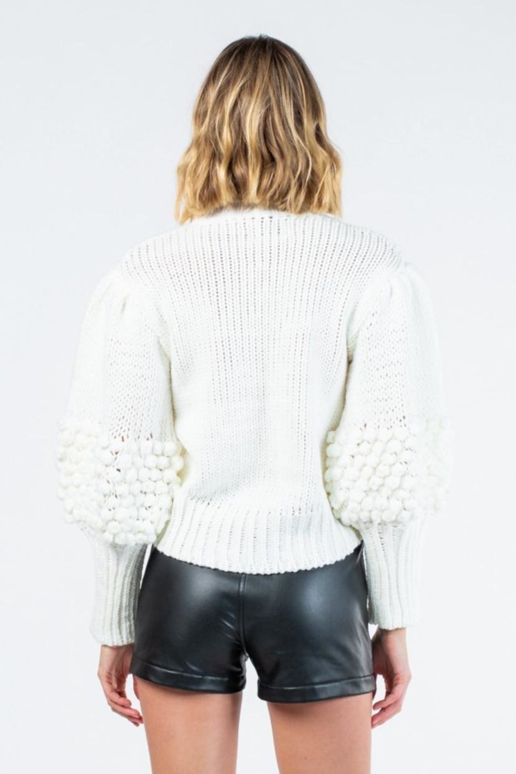 skylar madison Knitted Long-Sleeve Sweater - Back Cropped Image