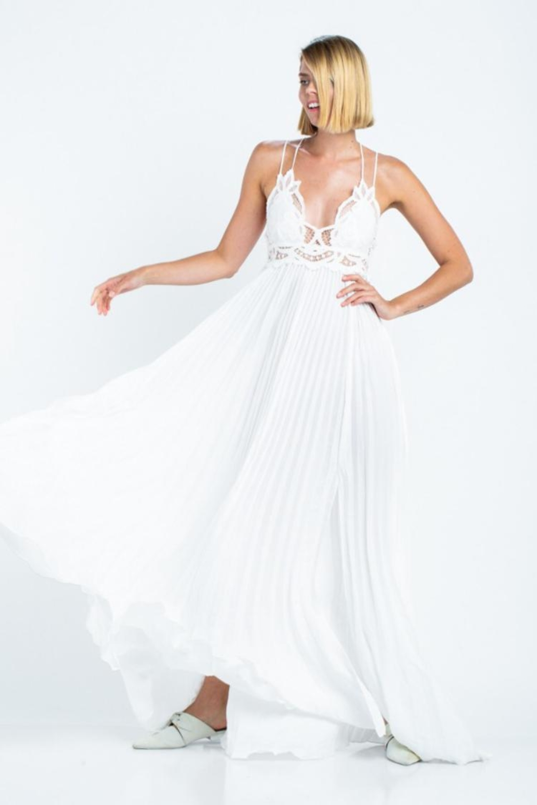 skylar madison Pleated Maxi Dress - Front Full Image