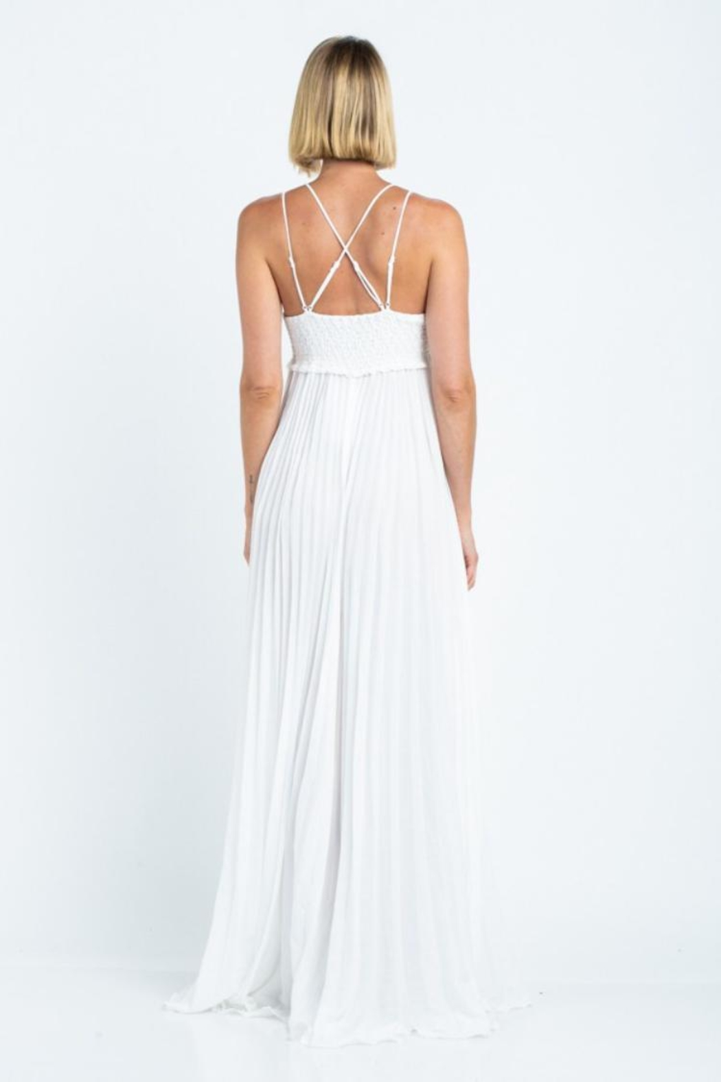 skylar madison Pleated Maxi Dress - Back Cropped Image