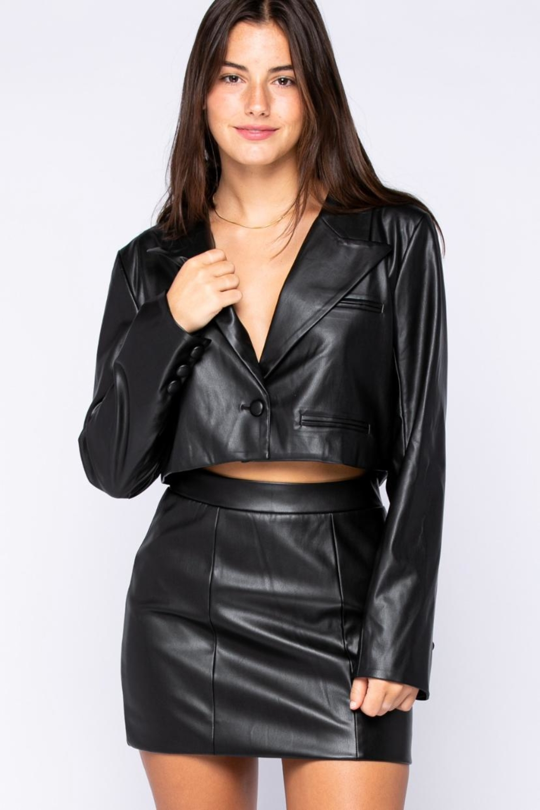 skylar madison Pu Bolero Jacket - Front Full Image