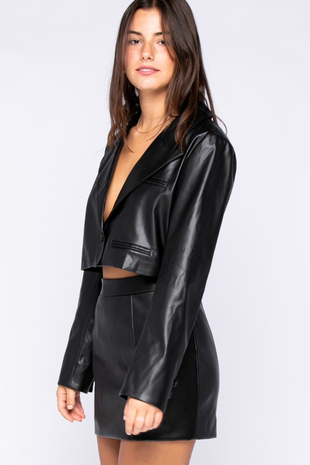 skylar madison Pu Bolero Jacket - Side Cropped Image