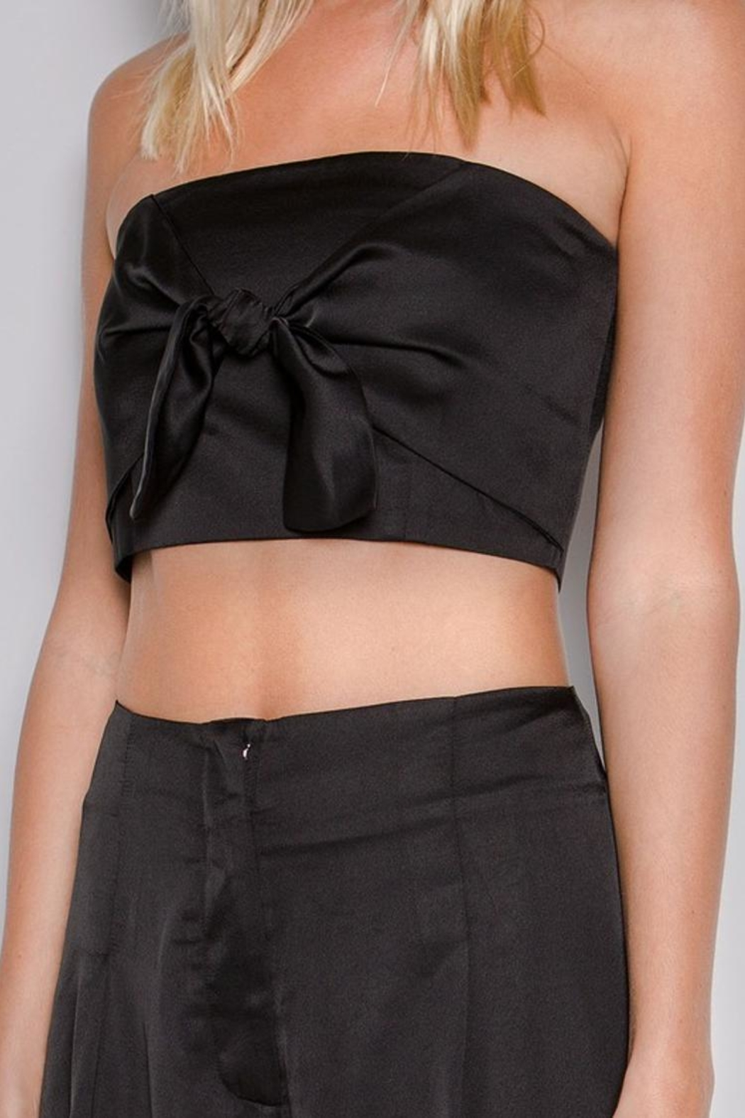 skylar madison Satin Front-Tie Top - Front Full Image