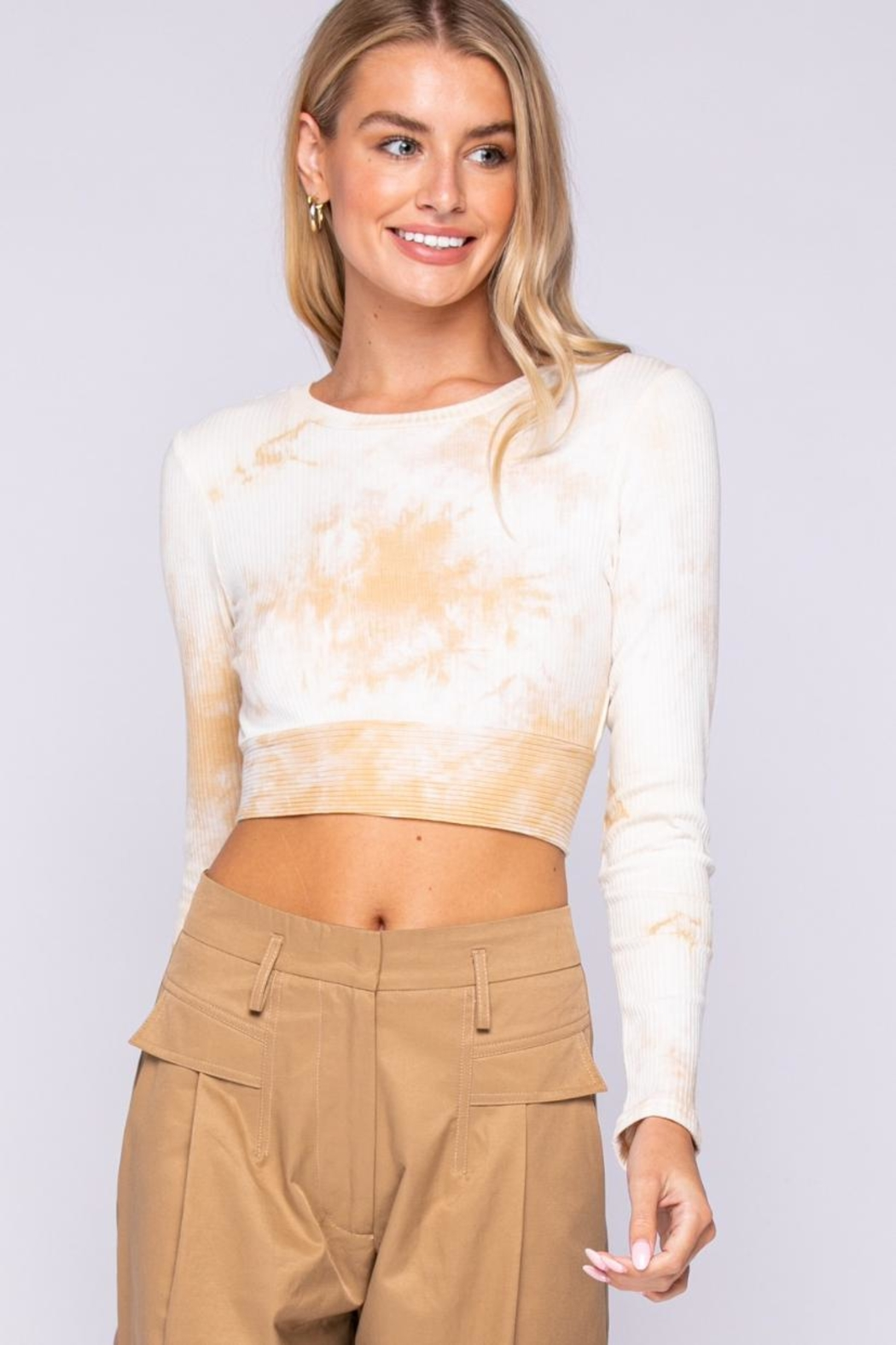 skylar madison Tie-Dye Crop Top - Front Full Image
