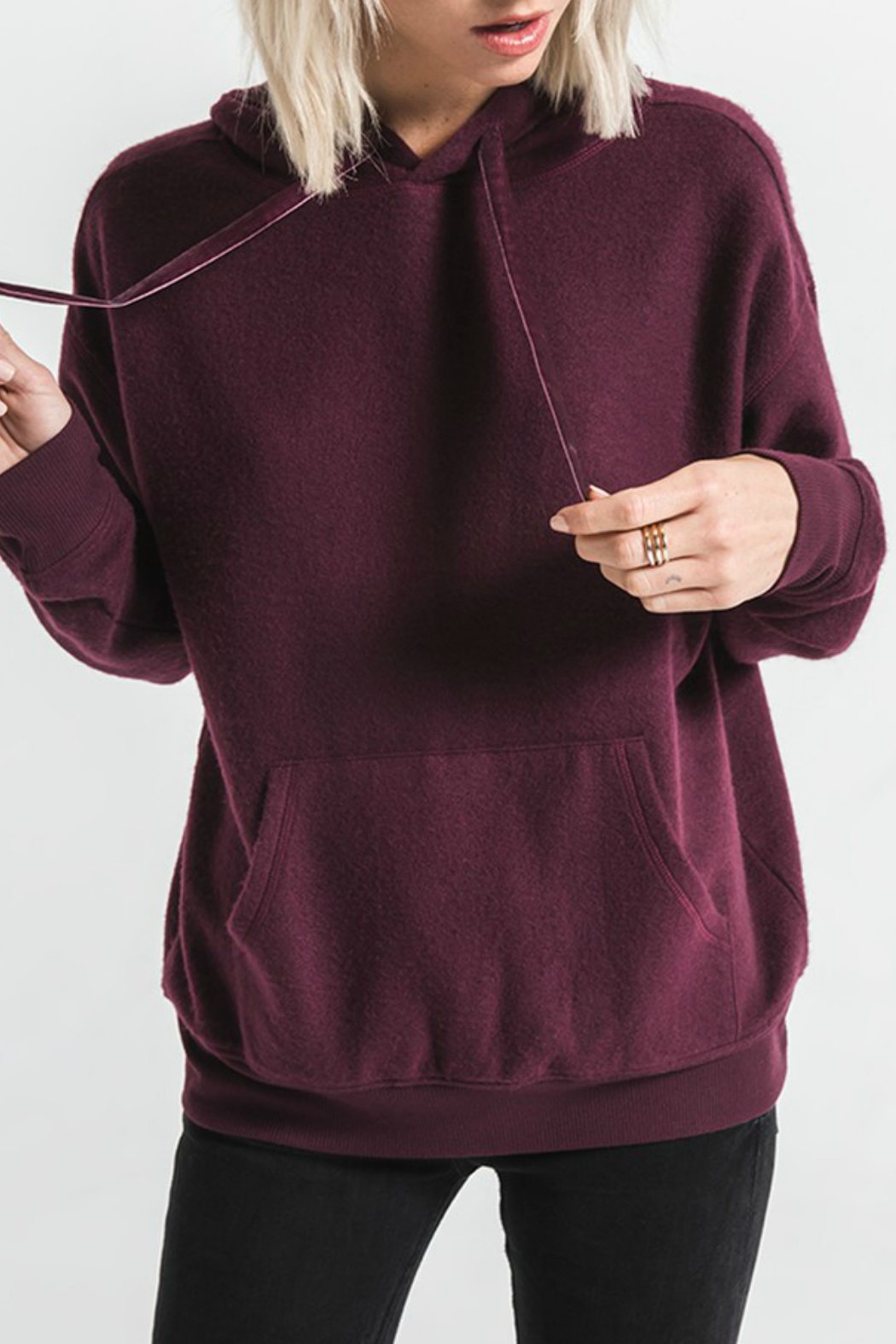 Others Follow  Skyler Pocket Front Hoody w Velvet Ties - Front Cropped Image