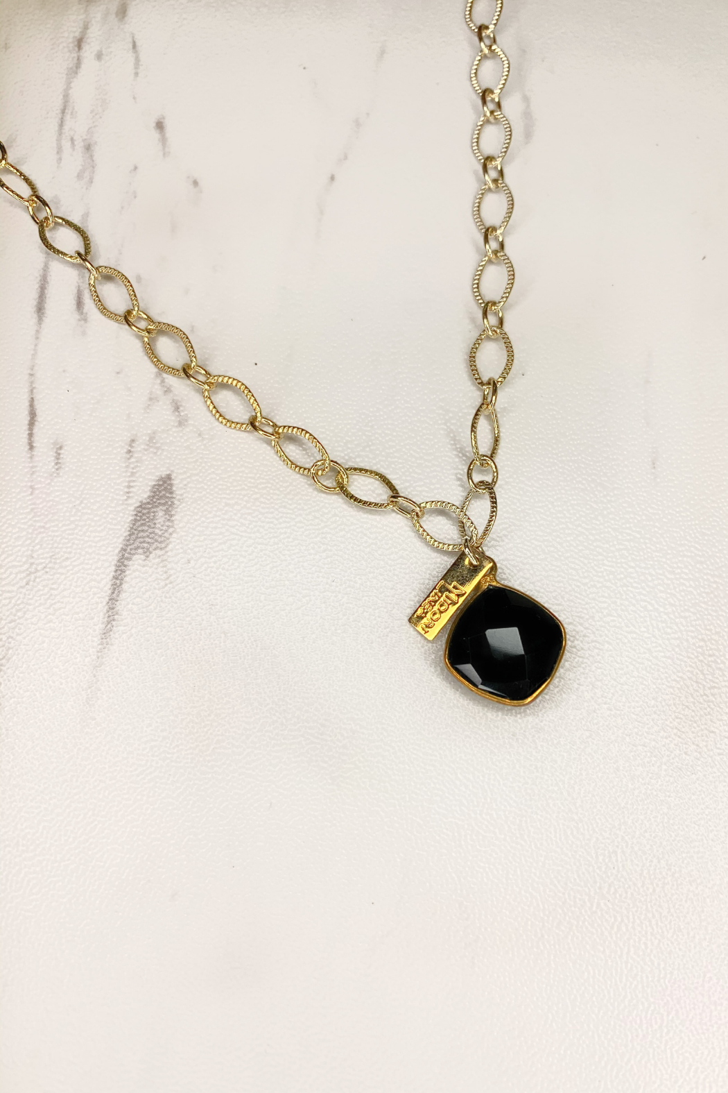 Midori Linea Skylights Long Chain Necklace w Stone - Front Full Image
