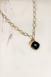 Midori Linea Skylights Long Chain Necklace w Stone - Front full body