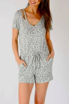 Shoptiques Product: Slash Neck Grey Leopard Romper