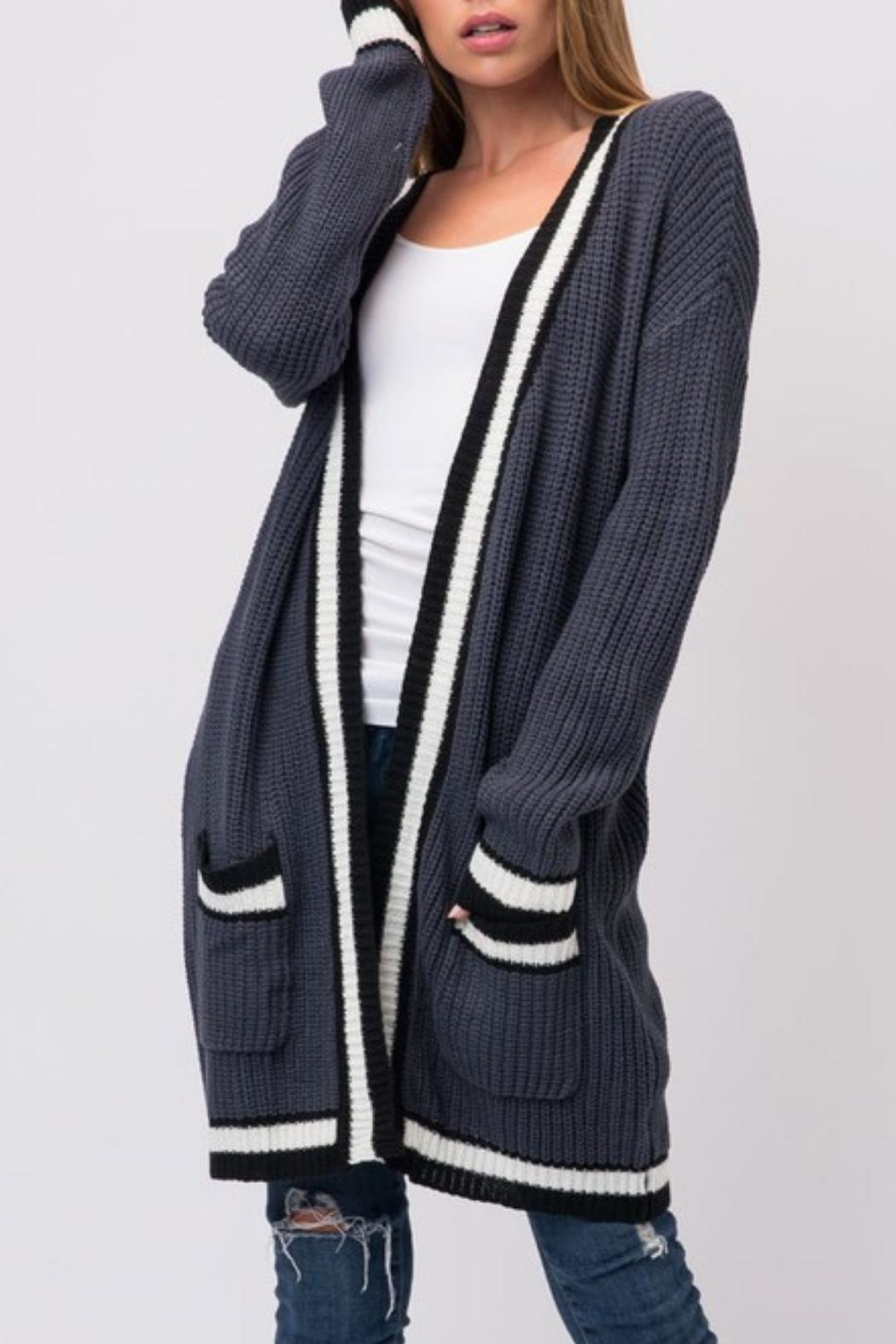 Cozy Casual Slate Blue Cardigan - Front Full Image