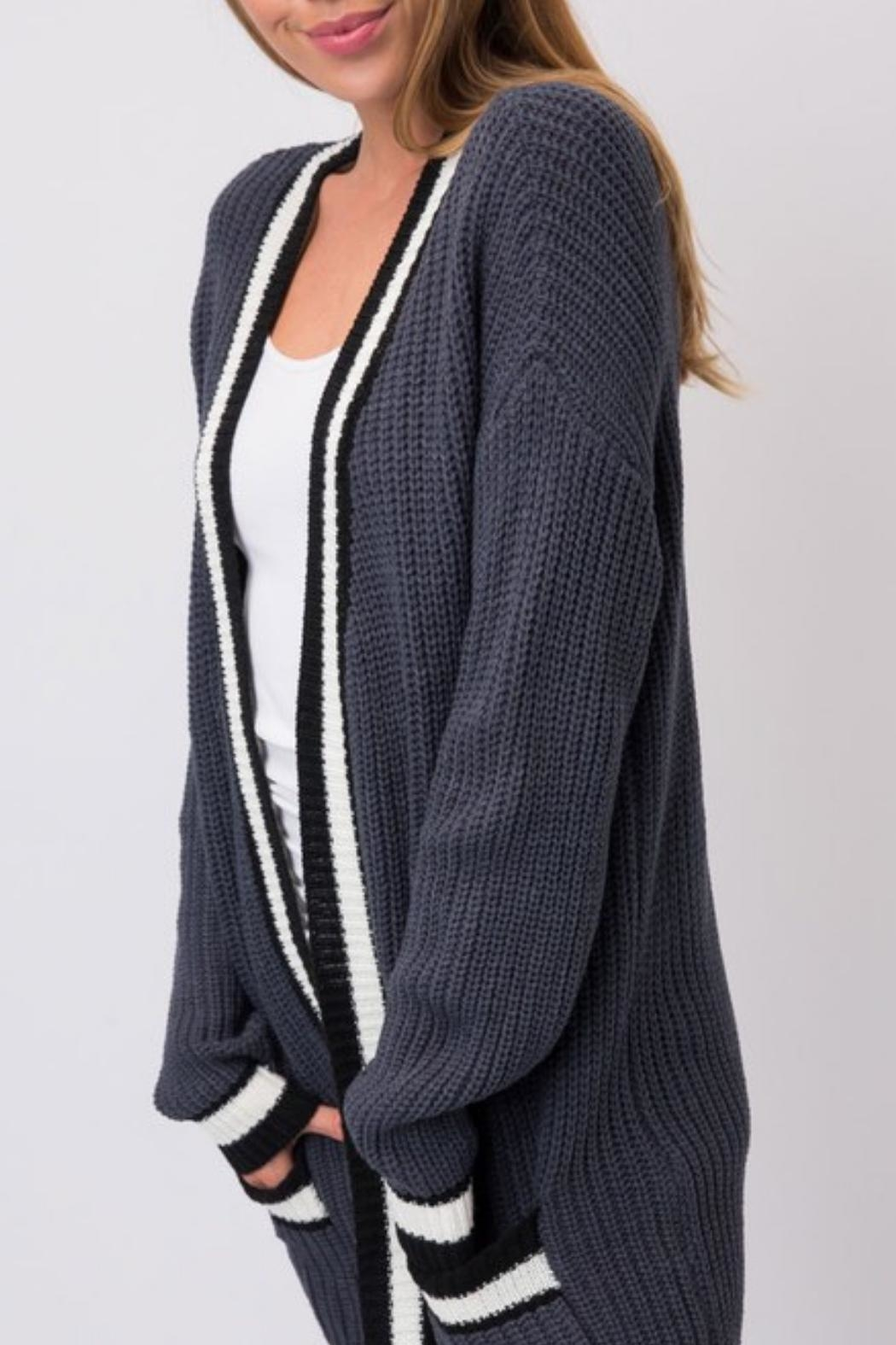 Cozy Casual Slate Blue Cardigan - Side Cropped Image