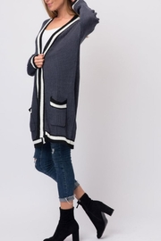 Cozy Casual Slate Blue Cardigan - Back cropped