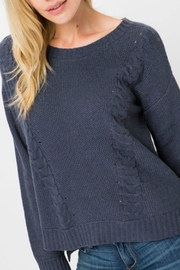 Cozy Casual Slate Cable-Knit Pullover - Product Mini Image