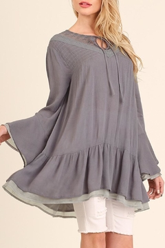 Shoptiques Product: Grey Bell-Sleeve Tunic
