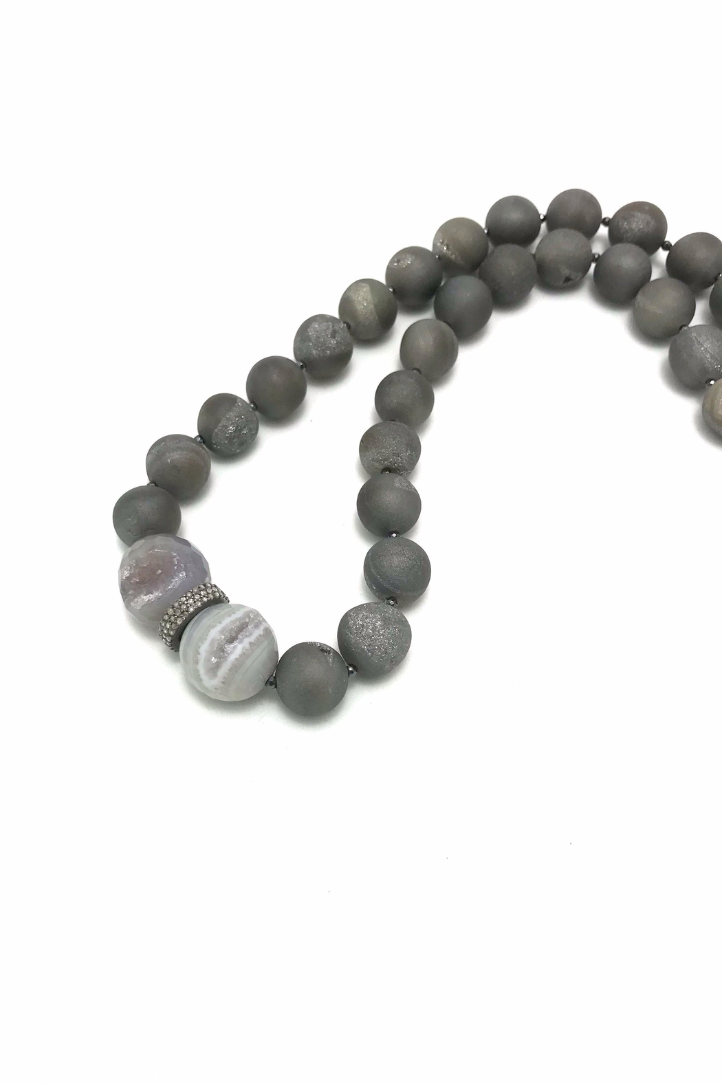 Slate Gray Gallery Druzy Hematite Necklace - Front Full Image