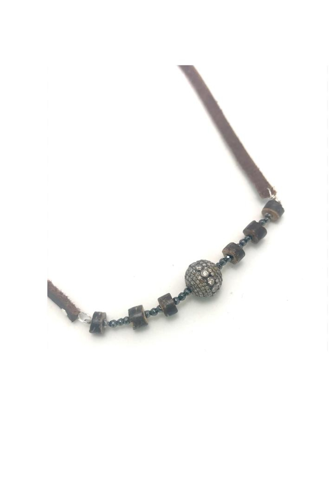 Slate Gray Gallery Hemative Leather Necklace - Front Full Image