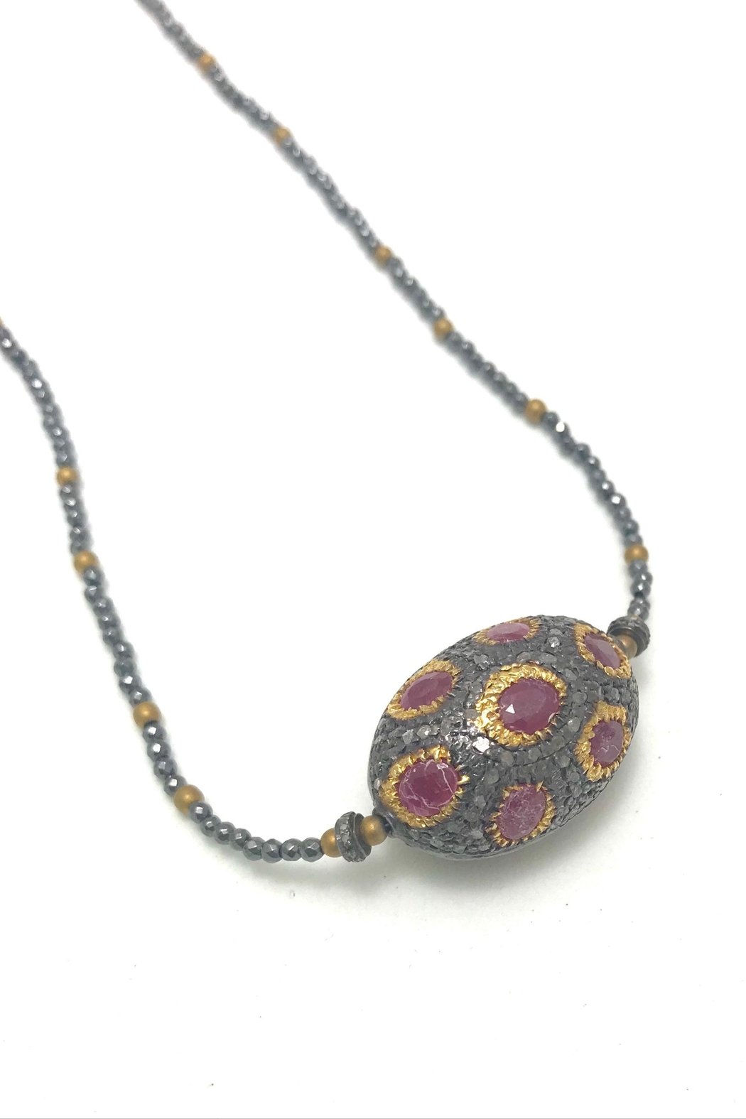 Slate Gray Gallery Ruby Diamond Necklace - Front Full Image