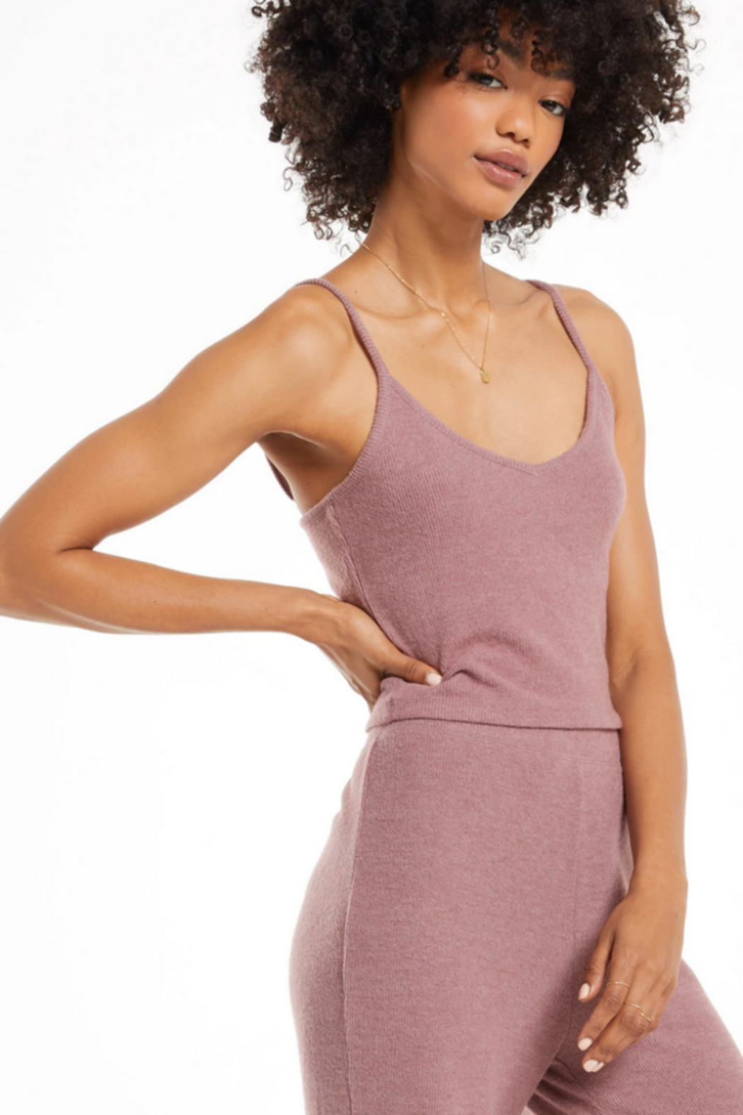 z supply Slay All Day Rib Crop Cami - Front Full Image