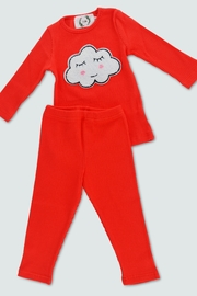 T & Tim Sleepy Cloud Pajamas in Red - Front cropped