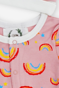T & Tim Sleepy Rainbow Romper in Pink - Alternate List Image