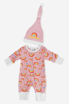 T & Tim Sleepy Rainbow Romper in Pink - Product List Image