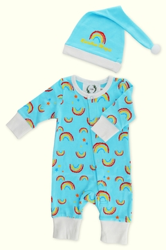 T & Tim Sleepy Rainbow Sleepwear Romper in Blue - Product List Image