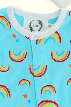T & Tim Sleepy Rainbow Sleepwear Romper in Blue - Alternate List Image