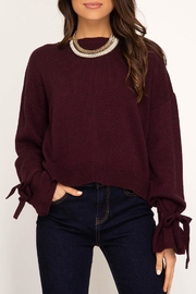 She + Sky Sleeve Tie Sweater - Product Mini Image