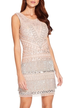 Adrianna Papell Sleeveless Beaded Sheath Dress With Fringe Detail - Product List Image