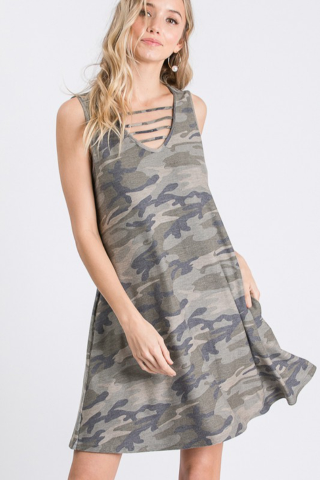Heimish Sleeveless Camo Print Dress - Front Cropped Image
