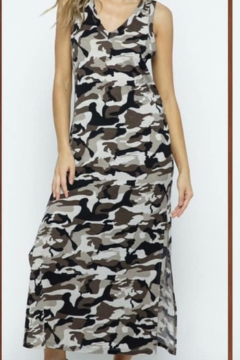 Blue B Sleeveless Camo Print Maxi Dress from New York City by Uniquely Yours — Shoptiques