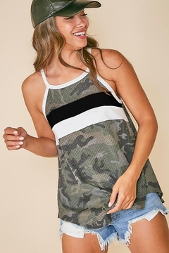 Fantastic Fawn  Sleeveless Camo Top with Color Block Front - Product List Image