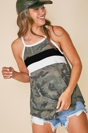 Fantastic Fawn  Sleeveless Camo Top with Color Block Front - Product Mini Image