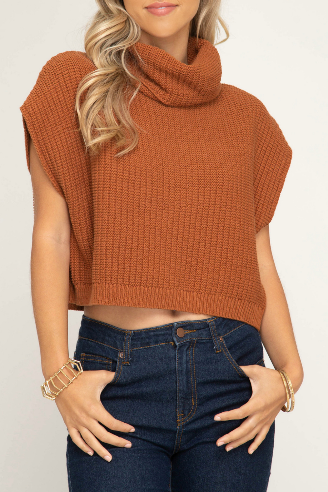 42544fce0fc60f She + Sky Sleeveless cowl neck knit sweater crop top - Front Cropped Image