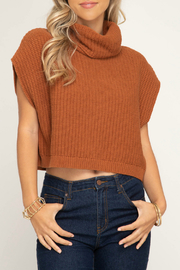 She + Sky Sleeveless cowl neck knit sweater crop top - Product Mini Image