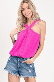 Ces Femme  Sleeveless Criss Cross Front Tube Top - Front cropped