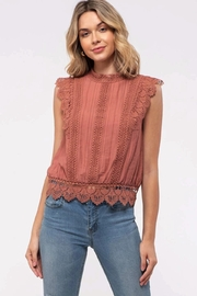 blu Pepper  Sleeveless Crochet Lace Top - Front cropped
