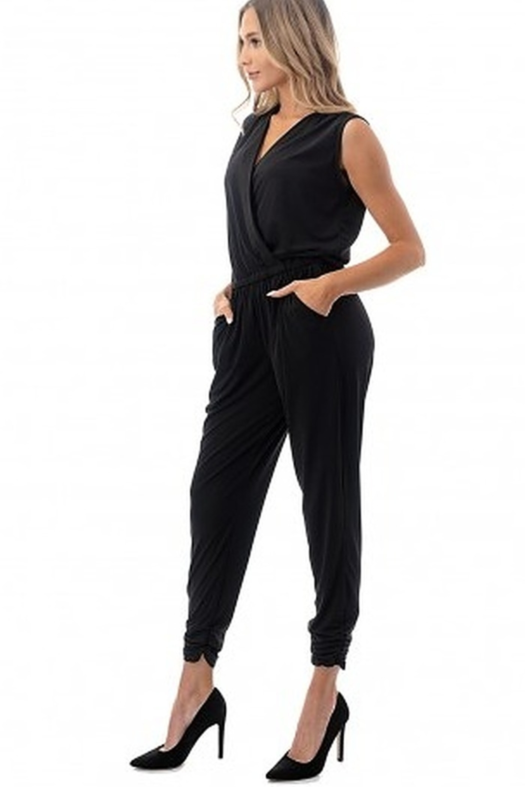 Ariella Sleeveless Crossover Front Jumpsuit - Front Full Image