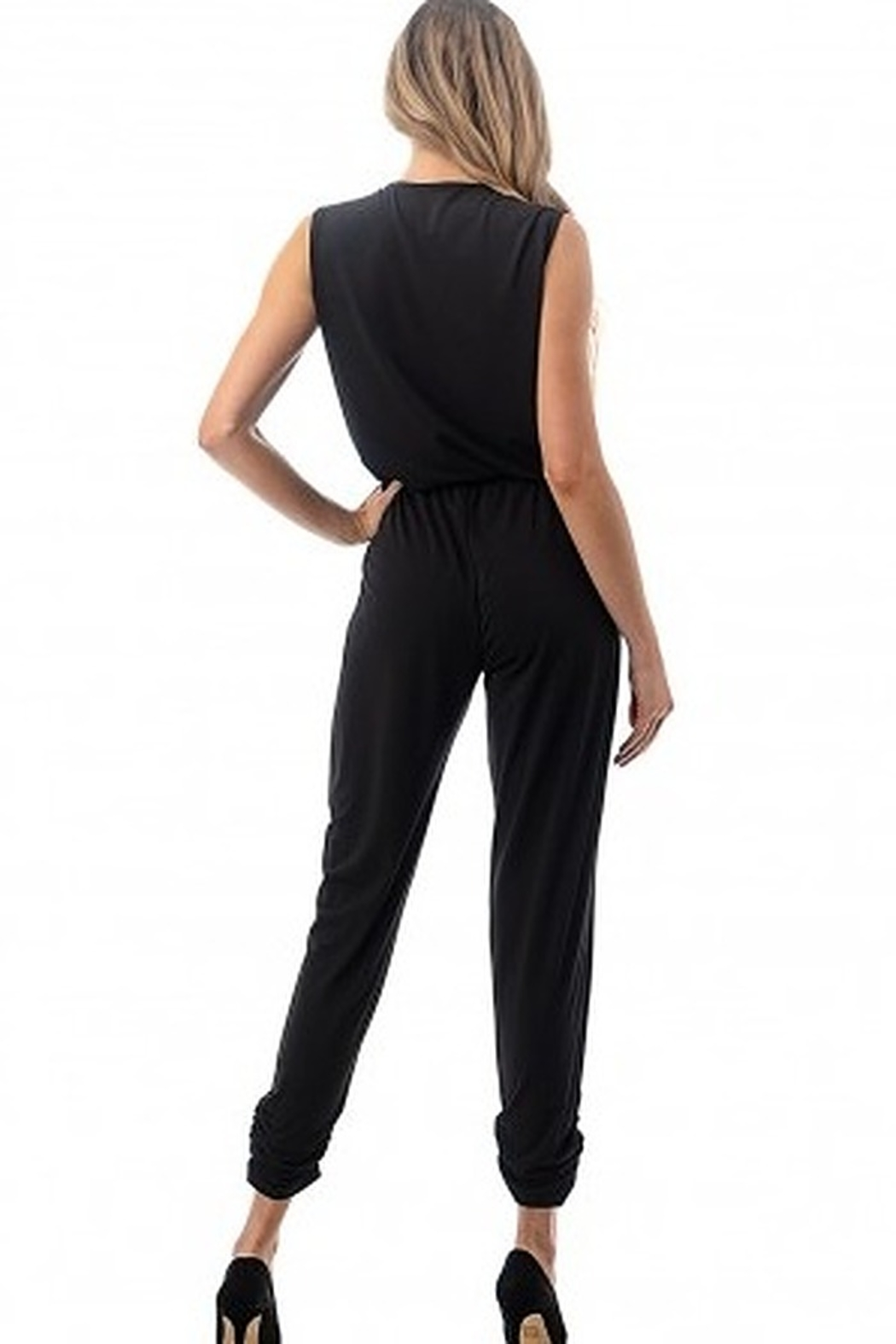 Ariella Sleeveless Crossover Front Jumpsuit - Side Cropped Image