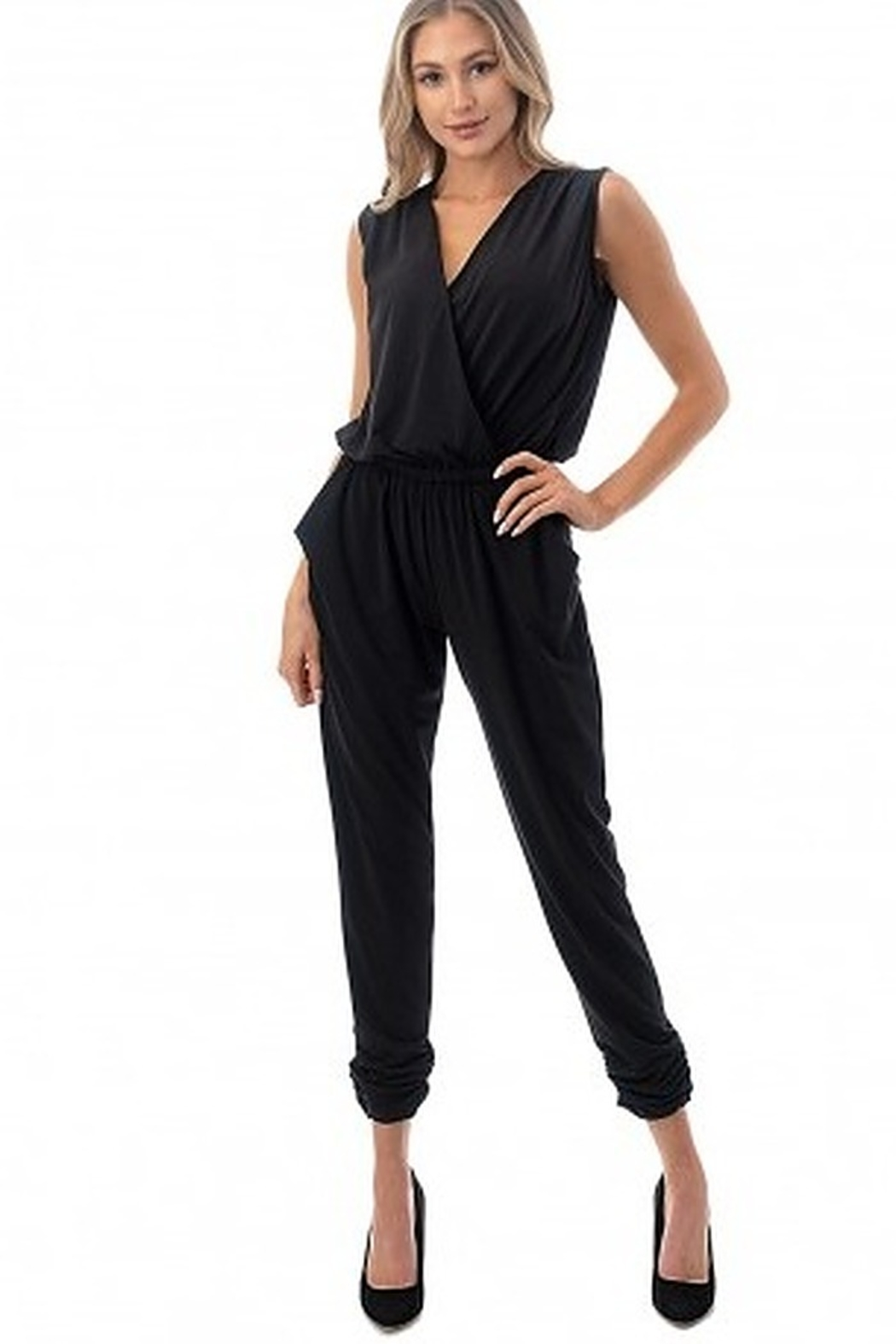 Ariella Sleeveless Crossover Front Jumpsuit - Back Cropped Image