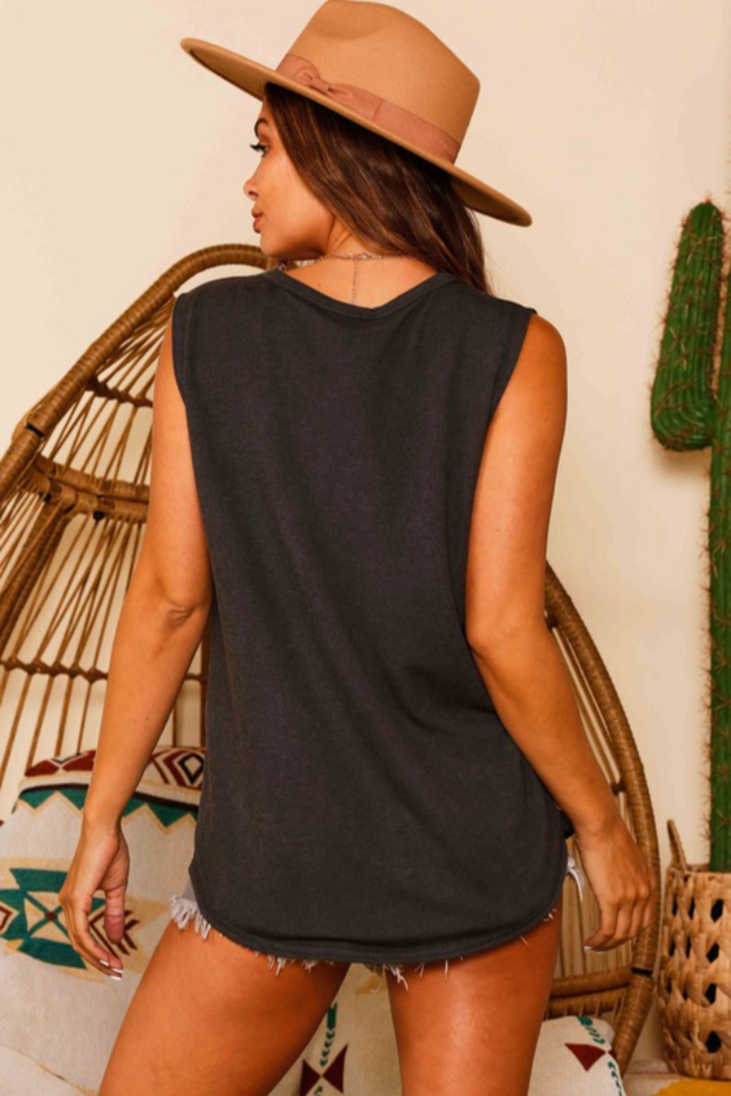 Fantastic Fawn Sleeveless Distressed Tank Top - Front Full Image